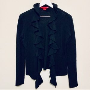{Saks Fifth Avenue} Black Cashmere Ruffle Cardigan
